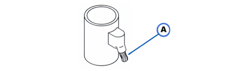 ACS-3 copper cable at a 45° angle to a vertical steel surface