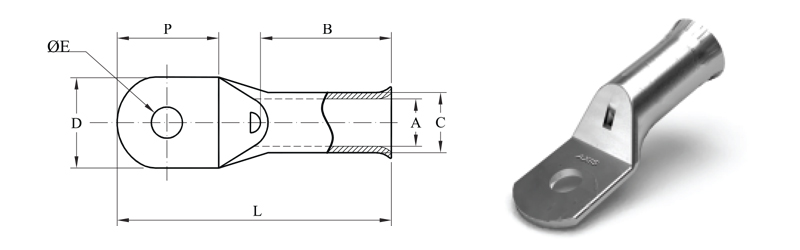 COMPRESSION CABLE LUGS, N-SERIES - BELL MOUTHED